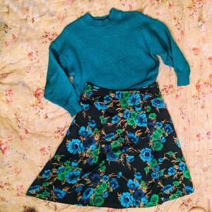 Vintage blue floral a line mini skirt
